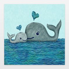 Whale Mom and Baby Art Print by elephanttrunkstudio on BoomBoomPrints