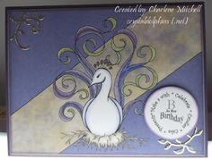 """Card crafted by Charlene Mitchell using """"Princess FussyFeather"""" digi stamp by artist Diana Garrison"""