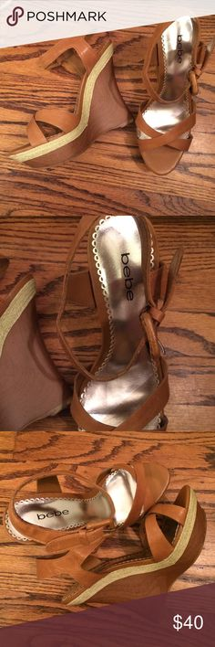 Bebe Platform Wedges Size 8.5. Good used condition. 5 in wood heel. Leather upper bebe Shoes Wedges