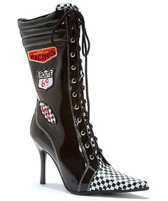 Racer Black And White Boots Adult Shoes