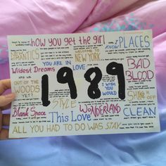 1989 by Taylor Swift album lyrics, hand drawn by http://allaroundtaylor.tumblr.com/.
