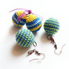Kolczyki - dwa & jeden w SolmilarArt na DaWanda.com Earrings Handmade, Handmade Jewelry, Crochet Earrings, Etsy, Handmade Jewellery, Jewellery Making, Diy Jewelry, Craft Jewelry, Handcrafted Jewelry
