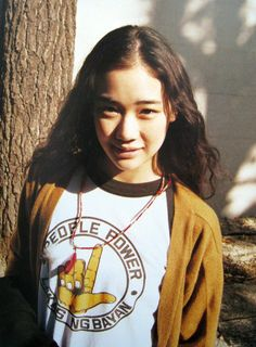 Aoi Yu and. a People Power shirt! Yu Aoi, Girl Photo Poses, Girl Photos, The Baby Sitters Club, Street Portrait, Pretty Asian, Comme Des Garcons, Her Smile, Classy And Fabulous