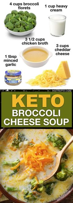 7 Easy Low Carb Soup Recipes Keto Friendly This low carb gluten free broccoli cheese soup is the BEST Its quick and easy and great for left overs Instrupix Low Carb Soup Recipes, Ketogenic Recipes, Lunch Recipes, Diet Recipes, Low Carb Soups, Carb Free Meals, Slimfast Recipes, Smoothie Recipes, Recipies