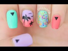 Matte Palm Tree Nails - YouTube (For summer, vacation, the beach, or anytime you want)