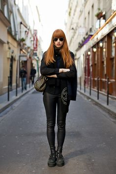 unseenphotofair: Red hair girl in all black, untitled, Paris, 2011© The Sartorialist/Danziger Gallery