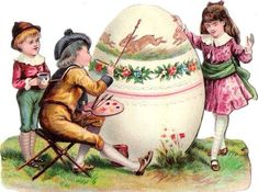 Oblaten Glanzbild scrap die cut  chromo Ostern easter  Kind child Ei egg