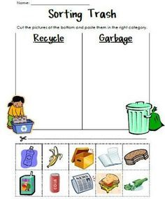 Sorting Trash - An Earth Day Lesson. Great for teaching recycling Kindergarten Science, Science Classroom, Kindergarten Worksheets, Teaching Science, Classroom Activities, Teaching Art, Teaching Ideas, April Preschool, Science Inquiry