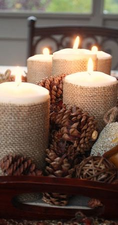Burlap Wrapped Candles....recommend flameless...
