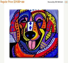 55% Off- Golden Retriever art Tile Ceramic Coaster Mexican Folk Art Print of painting by Heather Galler dog