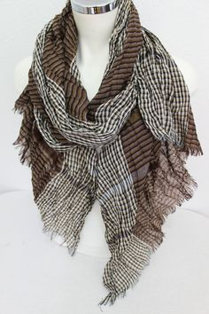 Brown biege men scarf Men scarf Striped men by Nazcolleccolors