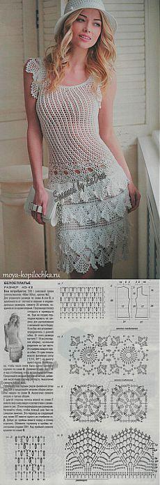 Белое ажурное платье с оборками - Вязание - Моя копилочка