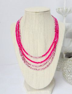 Multistrand Pink Beaded Necklace by InstinctBoutique on Etsy