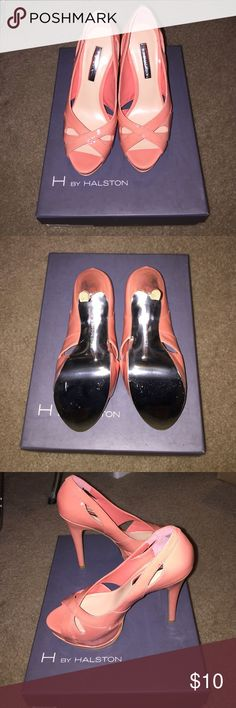Coral H By Halston peep toe pump NEVER WORN. Size 5.5 coral Patent Leather H by HALSTON Miranda High Heels Peep Toe H by Halston Shoes Heels