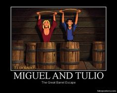 Miguel, Tulio and the Barrel by humpadinkhuckleberry on deviantART