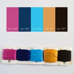 Pretty Stitch Palette: Cocoa and Mittens Dmc Embroidery Floss, Hand Embroidery Patterns, Cross Stitch Embroidery, Yarn Color Combinations, Blue Color Schemes, Friendship Bracelet Patterns, Friendship Bracelets, Cross Stitch Floss, Color Balance