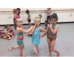 Chloe and Clara at dance with friends and other dancers.