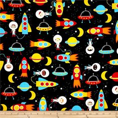 Kaufman Space Explorers Space Collage Primary from @fabricdotcom  Designed by Ann Kelle for Robert Kaufman, this cotton print fabric takes you on an adventure to explores faraway galaxies in outer space. Perfect for quilting, apparel and home decor accents. Colors include black, white, orange, burnt orange, blue, red, shades of brown, tan, yellow, cream and dark tan.