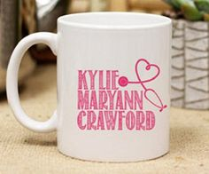 Personalized Name Coffee Mug For Nurses. ♥Personalized Nurse Coffee Mug Personalized coffee mugs for your home do more than just provide you with a fun cup each morning; they also add unique décor to your kitchen or coffee table! Our custom made mugs make the perfect gift for any family, couple, or special memory occasions. They are perfect for housewarming gifts, hostess gifts, special occasion moments, wedding gifts, and anniversary gifts. ✱ COFFEE MUG DETAILS: Mug Type: Ceramic Size…