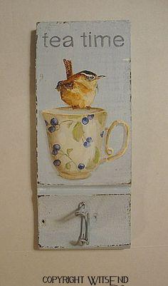 wall hook TEA time with Wren Bird  original ooak by 4WitsEnd, via Etsy