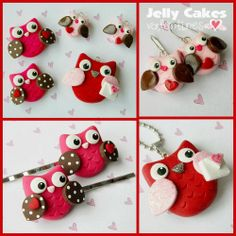 learn how to make cute owl jewelry and hair clips for Valentines day ~ by Jelly Cakes Designs