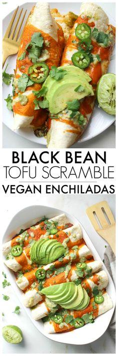 Black Bean Tofu Scramble Vegan Enchiladas