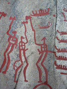 Rock carvings from the bronze age in the parish of Tanum, Bohuslän, a part in western Sweden. This particular area contains many large smooth rocks with carvings. Photo by Sven Rosborn.