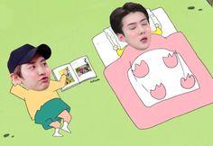 Baekhyun Fanart, Chanyeol, Foto Sehun, Iu Hair, Sehun Cute, Baby Faces, Exo Memes, Celebrity Dads, Celebrity Style