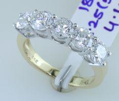 2.25 Carat SI 5 Stone Diamond Wedding Band Anniversary Ring 14k Yellow Gold by KANAKDIAMONDS on Etsy