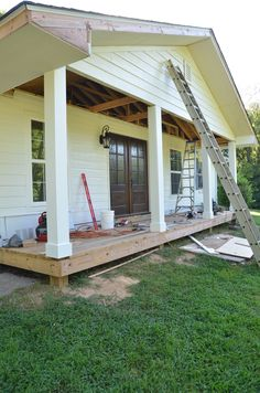 We've been giving our front porch a BIG makeover. here's a progress update on how far we've come. Fingers crossed, this DIY project will be finished up this weekend! Front Porch Posts, Front Porches, Front Porch Makeover, Outdoor Spaces, Outdoor Decor, Ranch Style, The Ranch, Curb Appeal, Home Remodeling
