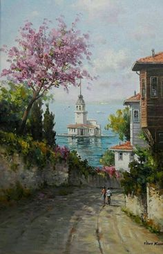 The very best billiard room in Istanbul, Watercolor Landscape, Landscape Paintings, Watercolor Paintings, Landscape Art, Pictures To Paint, Art Pictures, Images D'art, Beautiful Places, Beautiful Pictures