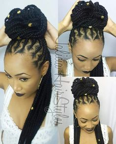 Women enjoy wearing box braids because these braids not only allow them to extend the length of their hair, but they can also wear different hairstyles with box braids. Although these styles look v… African Braids Hairstyles, Girl Hairstyles, Braided Hairstyles, Twisted Hair, Natural Hair Styles, Curly Hair Styles, Cool Braids, Goddess Braids, Trending Haircuts