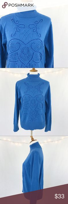 "OSCAR De La Renta Blue Beaded Sweater LARGE OSCAR De La Renta Blue Patterned Beaded Sweater Women's LARGE L Bust 21"" Length 25"" Oscar de la Renta Sweaters Cowl & Turtlenecks"