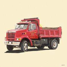 Classic Red Dump Truck Mural Decal - Wall Sticker Outlet