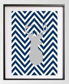 Navy White Chevron Print with Grey Deer / Modern Digital 8x10 Print / Wall Art / Home Decor