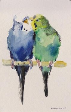 "Daily Paintworks - ""budgie7"" - Original Fine Art for Sale - © Katya Minkina"