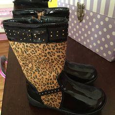 Children's boots Leopard print boots Nina Shoes Combat & Moto Boots