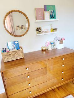 Mid century changing table dresser Project Nursery, Nursery Ideas, Closet Door Handles, Somebunny Loves You, Wooden Cribs, Dresser Drawer Knobs, Velvet Drapes, Changing Table Dresser, Nursery Dresser