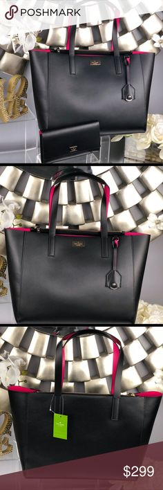"""Kate Spade Nelle Putnam Drive Black Leather Tote Kate Spade Nelle/Putnam Drive Black Leather Tote Bag  NWT...Brand New Color: Black and Hot Pink  Dimensions: 13.75""""L x 5.25""""W x 11.5""""H  *Wallet sold separately in my closet kate spade Bags Totes"""