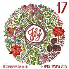 © Mary Tanana 2015 Christmas to Color- Joy Wreath