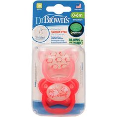 Buy Dr Brown's PreVent Glow In The Dark Pacifier Pink - Stage 1 - months Pack) online and save! Suction-Free Air Channel that helps reduce suction and palatal pressure Soft, suction-release bulb spreads wider as baby sucks for low pressure com. Toys R Us, Brown One Piece, Baby Doll Nursery, Dr Browns, Baby Binky, Channel, Pediatric Dentist, Butterfly Shape, Teepees