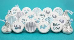 So cute - Teal Blue and Gray Elephant Baby Shower Favor Boy Stickers for Hershey Kisses in 9 different designs. Celebrate that It's a Boy with Teal Elephants, Gray Chevrons, Hearts and more. #boybabys