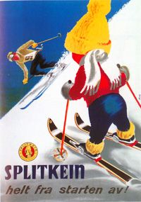 vintage ski poster 1955 Splitkein - helt fra starten av!