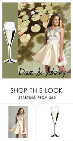 """Dave & Johnny: Champagne dress"" by daveandjohnny212 on Polyvore featuring Dave and Johnny and Riedel"