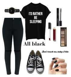 """""""All black"""" by eporima on Polyvore featuring Converse, ROSEFIELD, Chanel, Incoco and Urban Decay"""