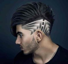 Barber Haircuts, Haircuts For Men, Hair And Beard Styles, Short Hair Styles, Hair Designs For Men, Shaved Hair Designs, Barbers Cut, Haircut Designs, Mens Hair Trends