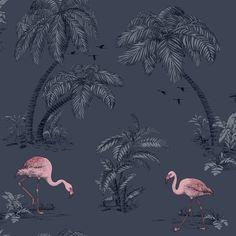 Dutch Wallcoverings Imaginarium Flamingo Lake Midnight Bleu Pink 12382 is part of Pink painting Wallpaper - Pink Flamingo Wallpaper, Navy Wallpaper, Rose Gold Wallpaper, Feature Wallpaper, Tropical Wallpaper, Paper Wallpaper, Tree Wallpaper, Painting Wallpaper, Blue Wallpapers