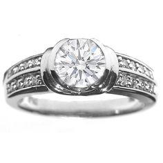 Bezel Set Round Diamond Engagement Ring with Sidestones in 14K White Gold 0.16 tcw.