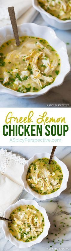 Just crazy over this Healthy Greek Lemon Chicken Soup Recipe on ASpicyPerspective... #chickenrecipeshealthylemon