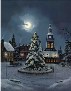 The First Tradition of Christmas by Jesse Barnes. Limited Edition Paper: A glimpse into the Christmas past. Christmas Canvas, Christmas Town, Christmas Paintings, Christmas Scenes, Christmas Pictures, Winter Christmas, Merry Christmas, Winter Szenen, Foto Gif